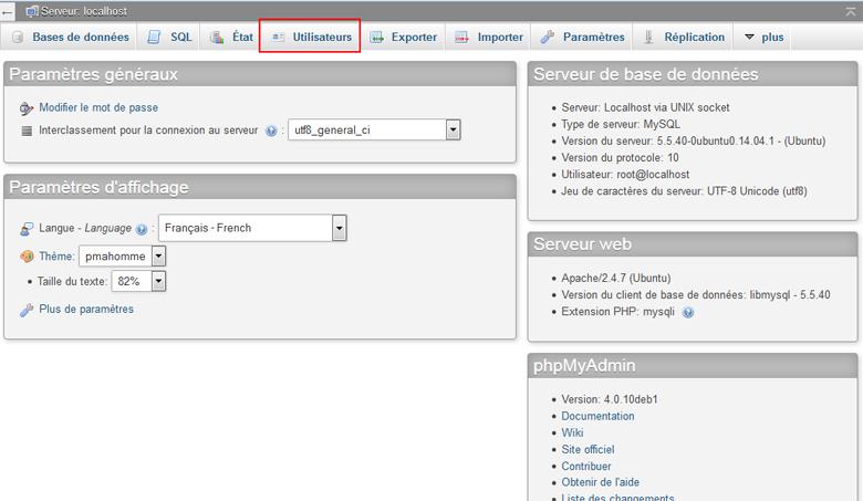Créer un utilisateur mysql avec PhpMyAdmin