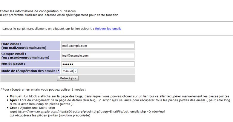 Mantis Email Upload Config