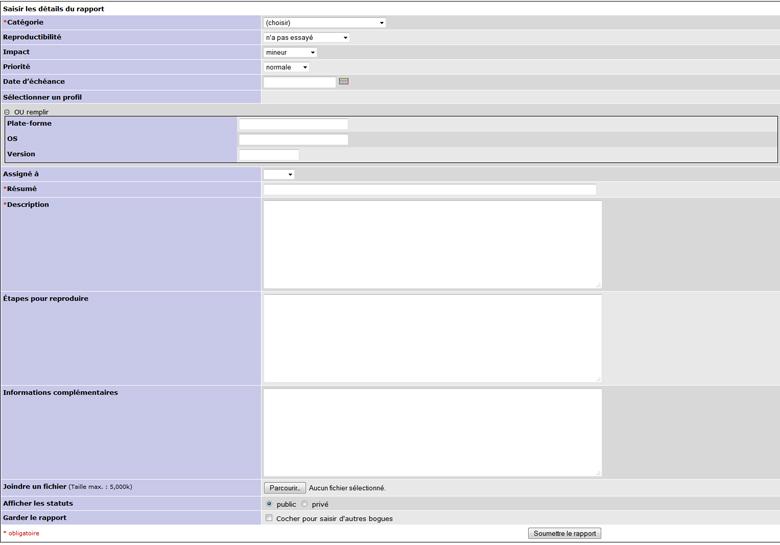 Mantis bugtracker : Personnaliser la page de soumission de bug