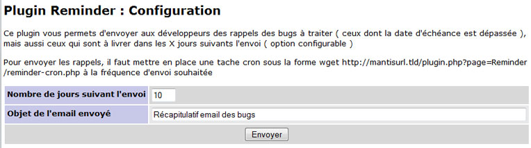 Mantis bugtracker : Nouvelle version du plugin Reminder