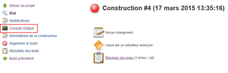 Jenkins résultats build