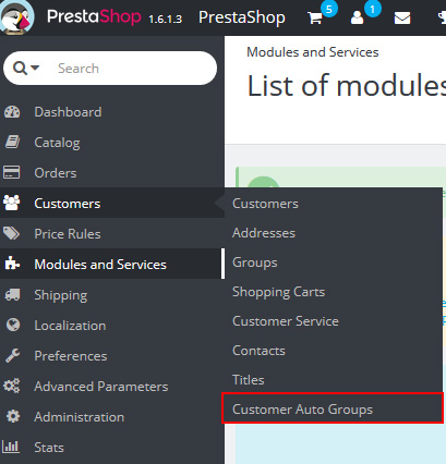 Autogroups menu