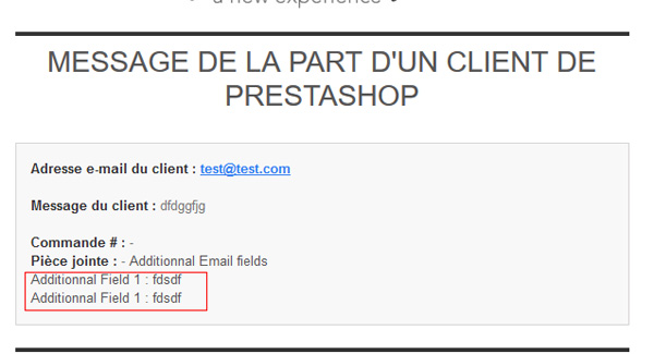 Champs dans email